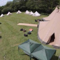 Overhead tipi and bell tents