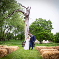Outdoor wedding with Bell Tents