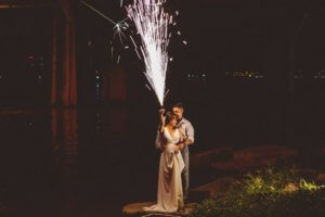 Bride and Groom with Fireworks