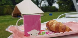 Cup of tea and croissant