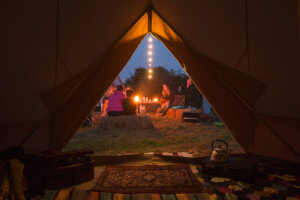 Fairy lights outside of a Bell Tent